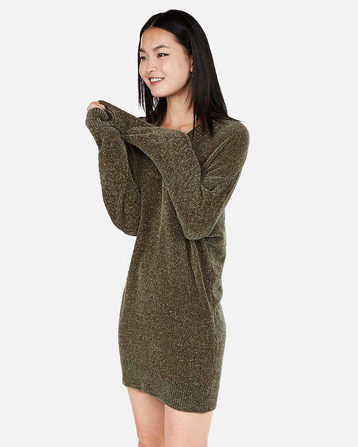 ca0cee82436 Express V-Neck Shift Sweater Dress