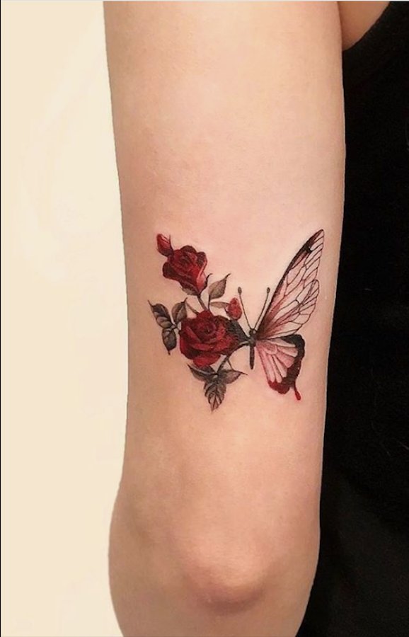20 Simple And Beautiful Butterfly Tattoos Mainly For Your Fingers Backs And Arms In 2020 Tattoos Rose Tattoos For Women Rose Tattoo Design