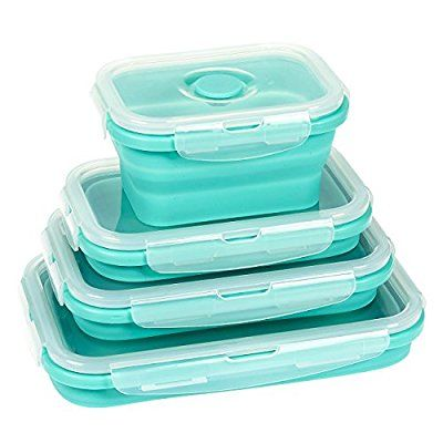 Amazoncom Collapsible Food Storage Containers 4 Pack Silicone