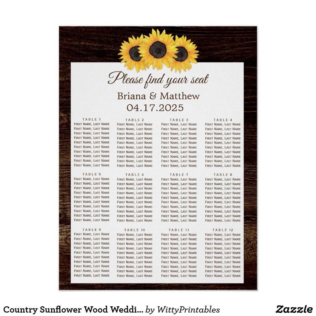 Country Sunflower Wood Wedding Seating Chart | Sunflower wedding ...