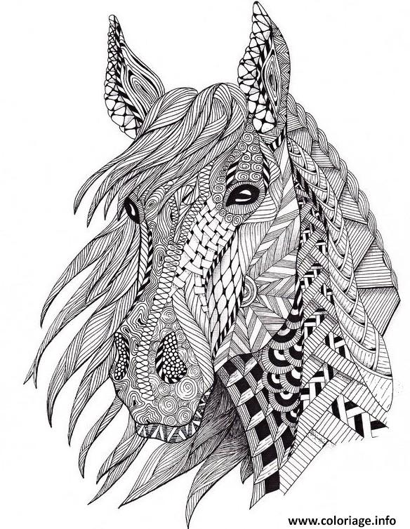 Coloriage Difficile De Cheval Recherche Google Horse Coloring Pages Zentangle Animals Horse Coloring