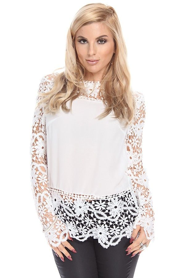 1798a5d55c1c1 WHITE LONG SLEEVE LACE DRESSY TOP,Dressy Tops,Chiffon Dressy Tops,Sexy Tops,Party  Tops,Club Tops,Lace and Mesh Dressy Tops,Print Top,Pretty Blouse Tops ...