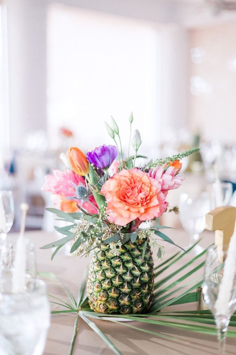 Pretty As A Pineapple Wedding | Floral centerpieces, Centrepieces ...