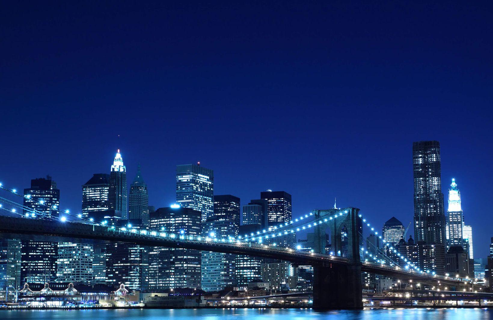 Blue Night Brooklyn Bridge Wallpaper Wall Mural Bridge