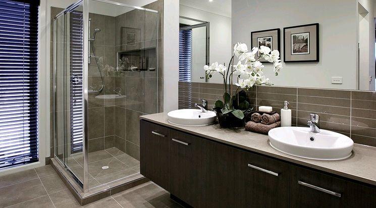 Ensuite Bathroom Ideas Grey : Ensuite tiles wet cement grooved vanity wall