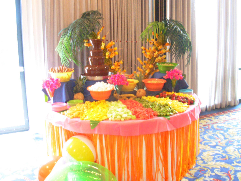 Hawaiian Luau Chocolate Fountain Display | Graduation Party Ideas ...