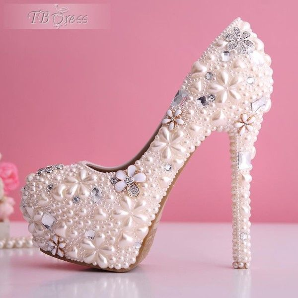 Baby Pink Pearl Flowers Closed Toe Stiletto Heel Wedding Shoes ($121) ❤ liked on Polyvore
