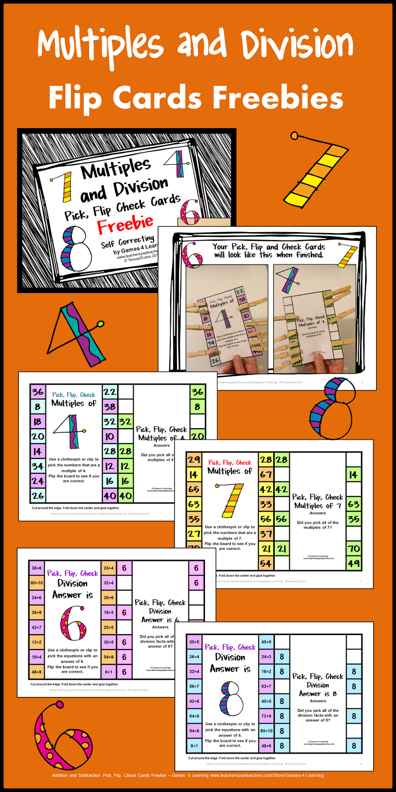 FREEBIES - Multiples and Division Clip, Flip, Check Cards. Children ...
