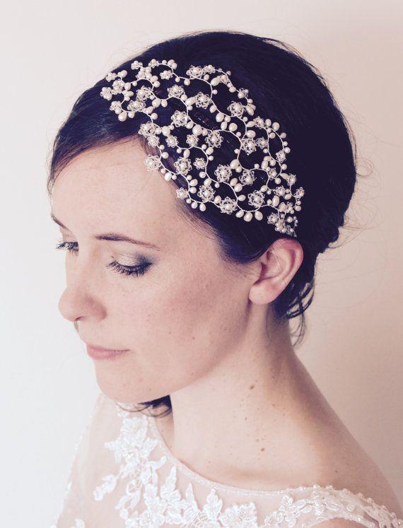 Bridal Pearl Crystal Side Tiara Vintage Wedding Fl Vine Headpiece Swarovski Headdress Statement Headband Bride Flower Accessory