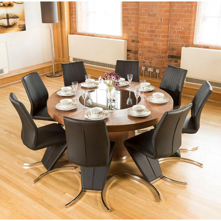 Luxury Large Round Walnut Dining Table Lazy Susan 8 Z Chairs 3104