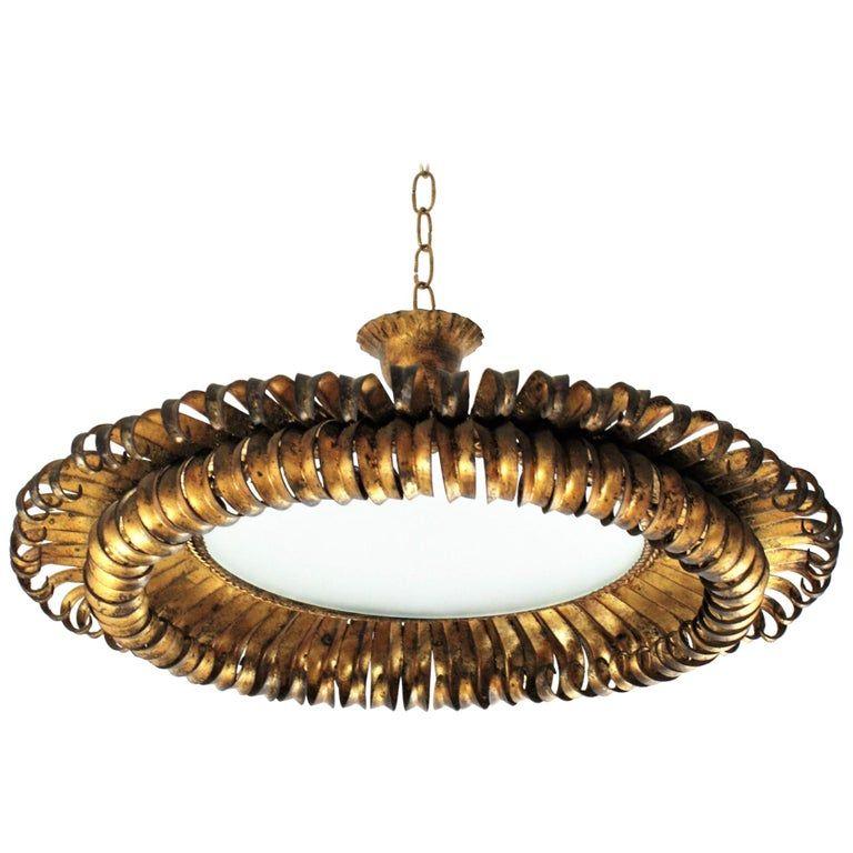 Gilt Wrought Iron Eyelash Sunburst Round Ceiling Light Fixture France 1950s Round Ceiling Light Ceiling Light Fixtures Ceiling Lights