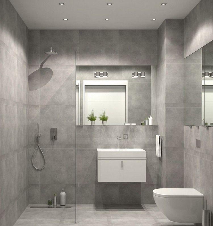 graue fliesen in steinioptik ebenerdige glasdusche und wandspiegel bathroom ideas pinterest. Black Bedroom Furniture Sets. Home Design Ideas