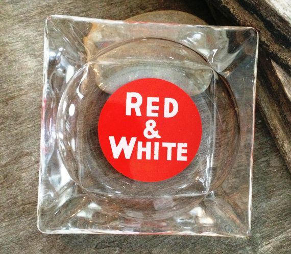 Red White Glass Ashtray Vintage Ashtray Red White by PoppiesHouse