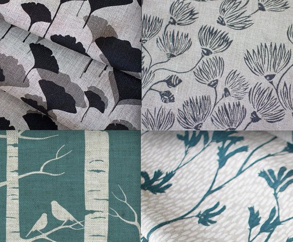 Pick Four  Ink & Spindle Hand Screen Printed Fabric. by GoOnMakeMe