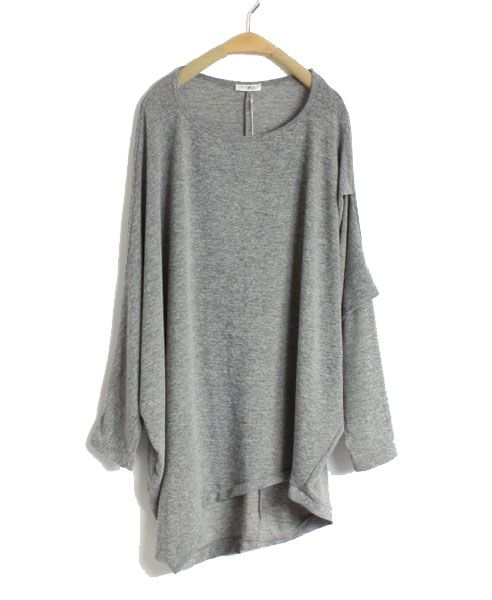 Gray Oversized Batwing Knitted Sweater with Dip Hem