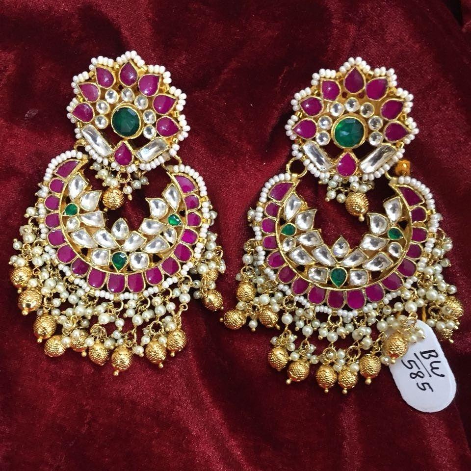 a6f688fce9635 Jadau Earring Design Indian   Beautiful Jadau Kundan Earring Design ...