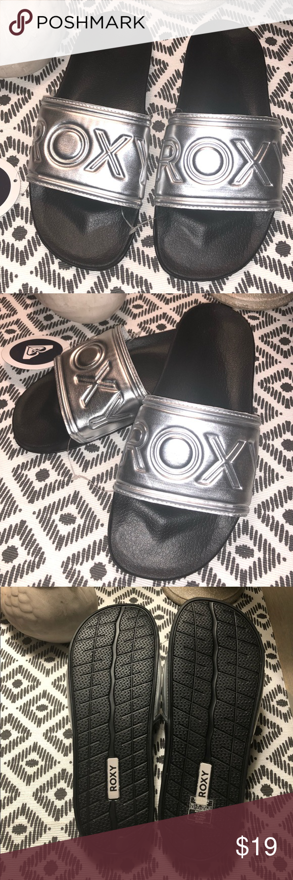 591af4f03a5d Roxy Slippy Slide Sandals - Silver - NWT - 8W Get ready for the summer sun  with the Slippy Slides from Roxy. Whether you are headed to the beach or  the pool ...
