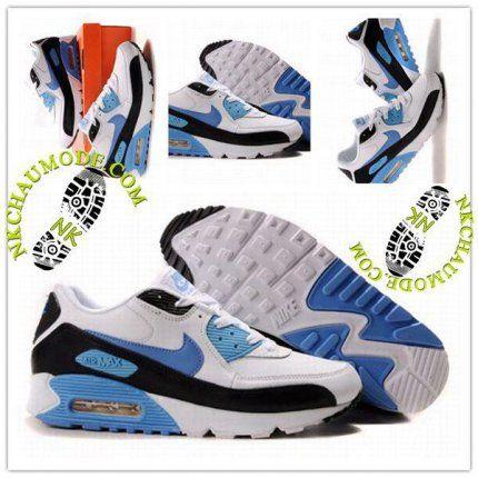 pas mal 6782a fd3c4 Mode | Nike Chaussure Sport Air Max 90 Homme Blanc Bleu Cair ...