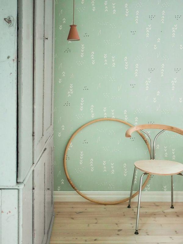 Behang Pastel Groen.Behang Floral Pastelgreen Roomblush Behang Bloemen Pastel