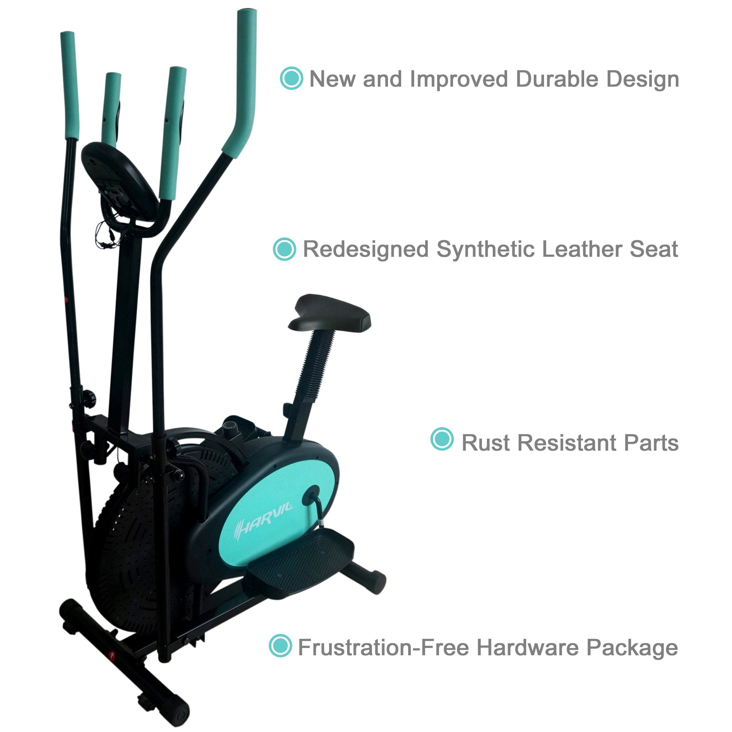 Harvil Elliptical Cross Trainer And Exercise Bike 2 In 1 With