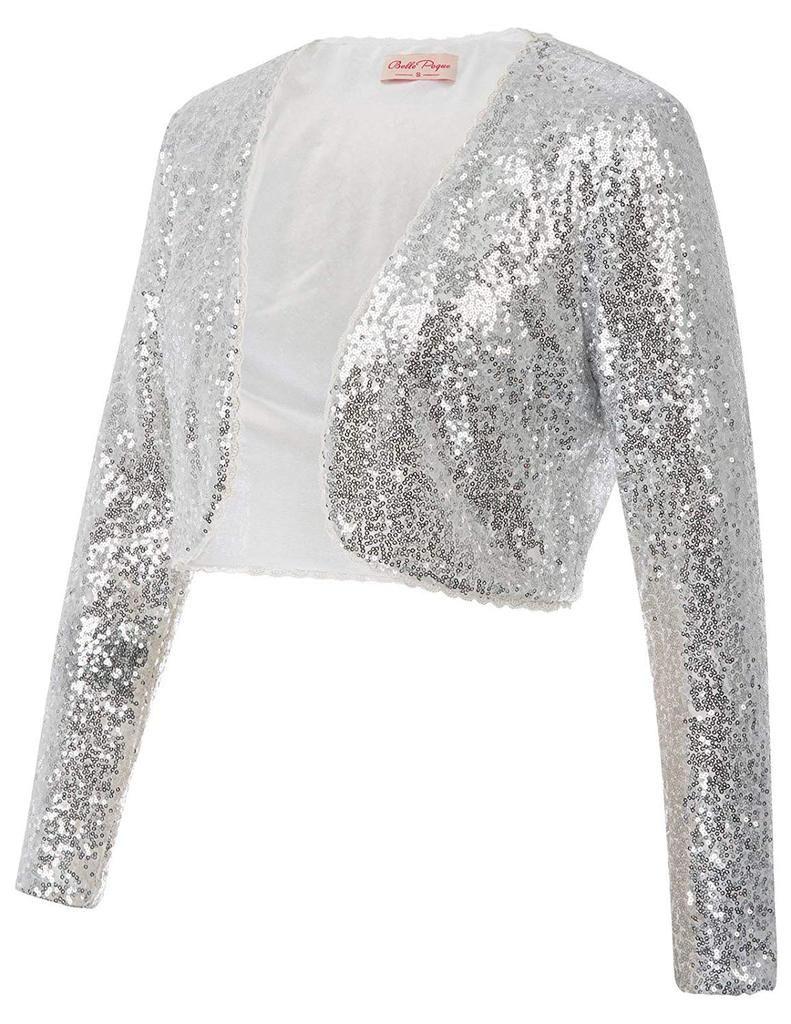 871f1ffa3907a Womens Sequin Jacket Open Front Glitter Cropped Bolero Evening Dress Shrug