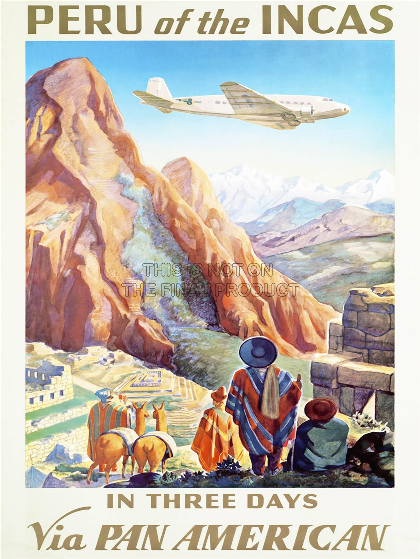 "NORWAY Pan American Air Lines 8.5/"" x 11/""  Travel Poster"