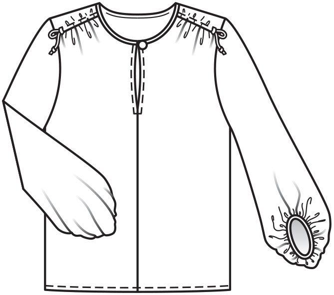 ec15e0dda2a Блузка с пышными рукавами - выкройка № 114 В из журнала 1 2016 Burda – выкройки  блузок на Burdastyle.ru