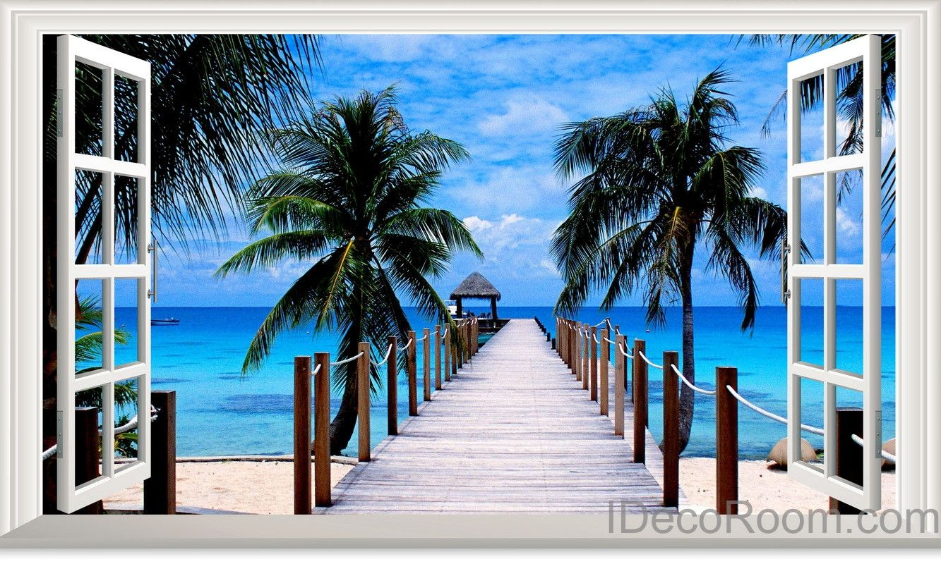 Palm Tree Beach Tropical Ocean Pier 3d Window View Removable Wall