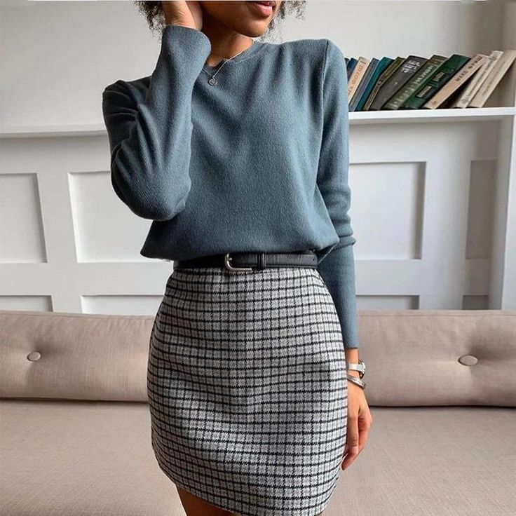 Classic Blue Top Plaid Skirt Two-Piece Dress