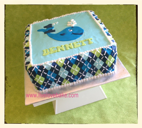 Ocean Preppy Whale 1st Birthday Cake ha and my maiden name cakes