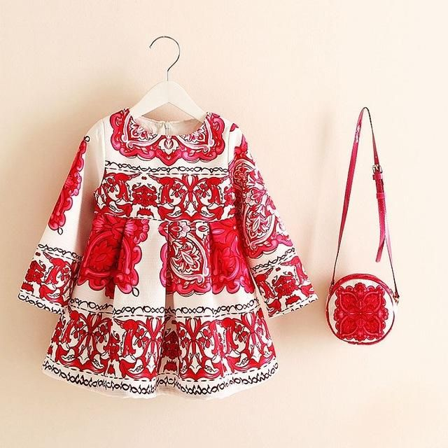 Beautiful Little Girls Printed Dress Matching Bag Pinterest