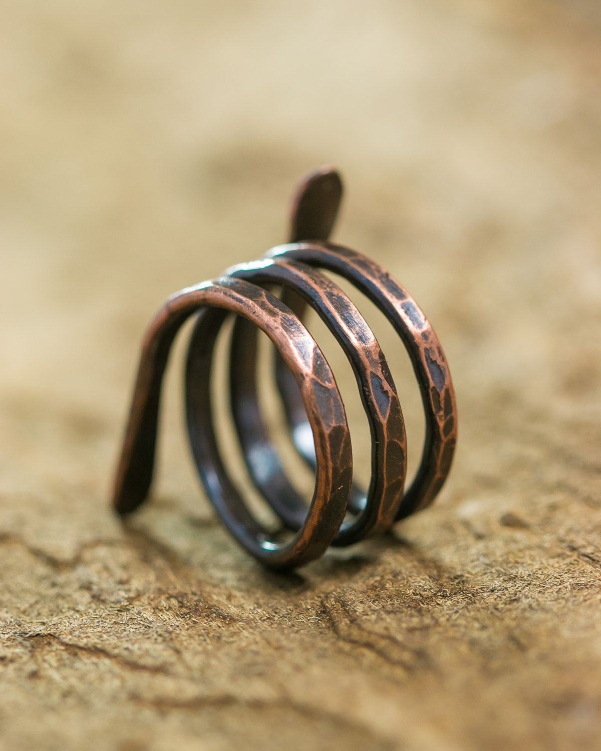 Adjustable Copper Ring, rustic copper ring, copper hammered ring ...