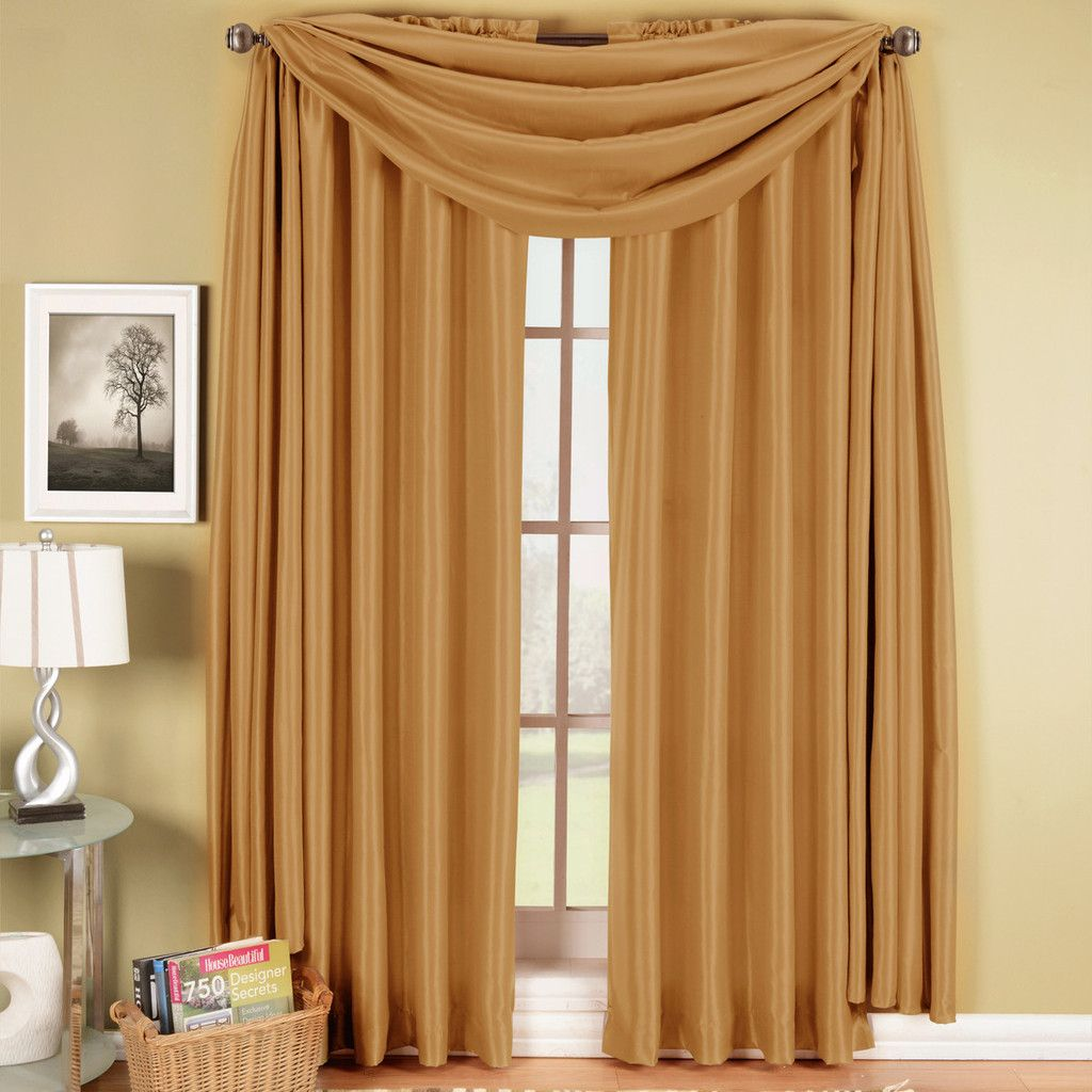 Window coverings arched windows  gold soho scarf window treatment  soho window and rod pocket