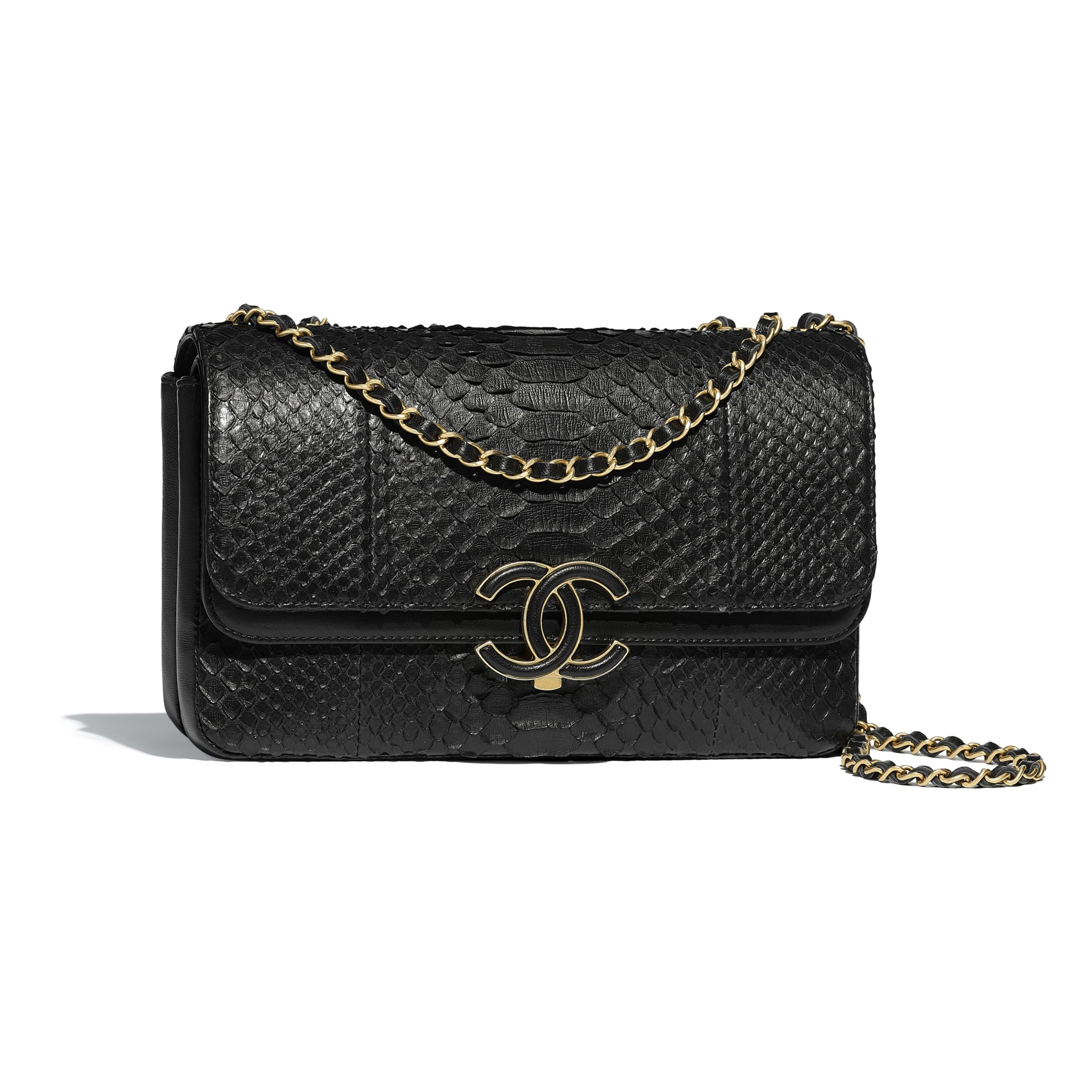 00397eaa7b Python, Lambskin & Gold-Tone Metal Black Flap Bag | CHANEL | Fashion ...