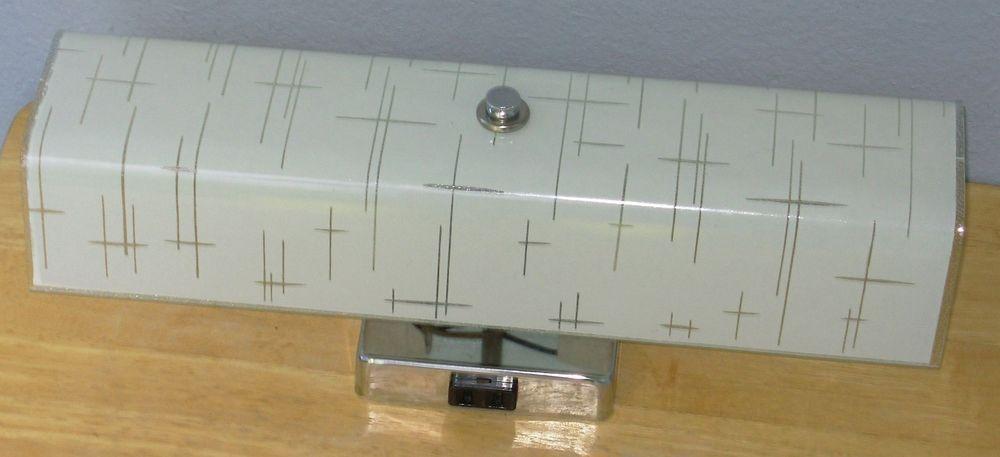 Vintage 1950s Bathroom Light Wall Vanity Fixture Chrome U Shape Globe Excellent Bathroom