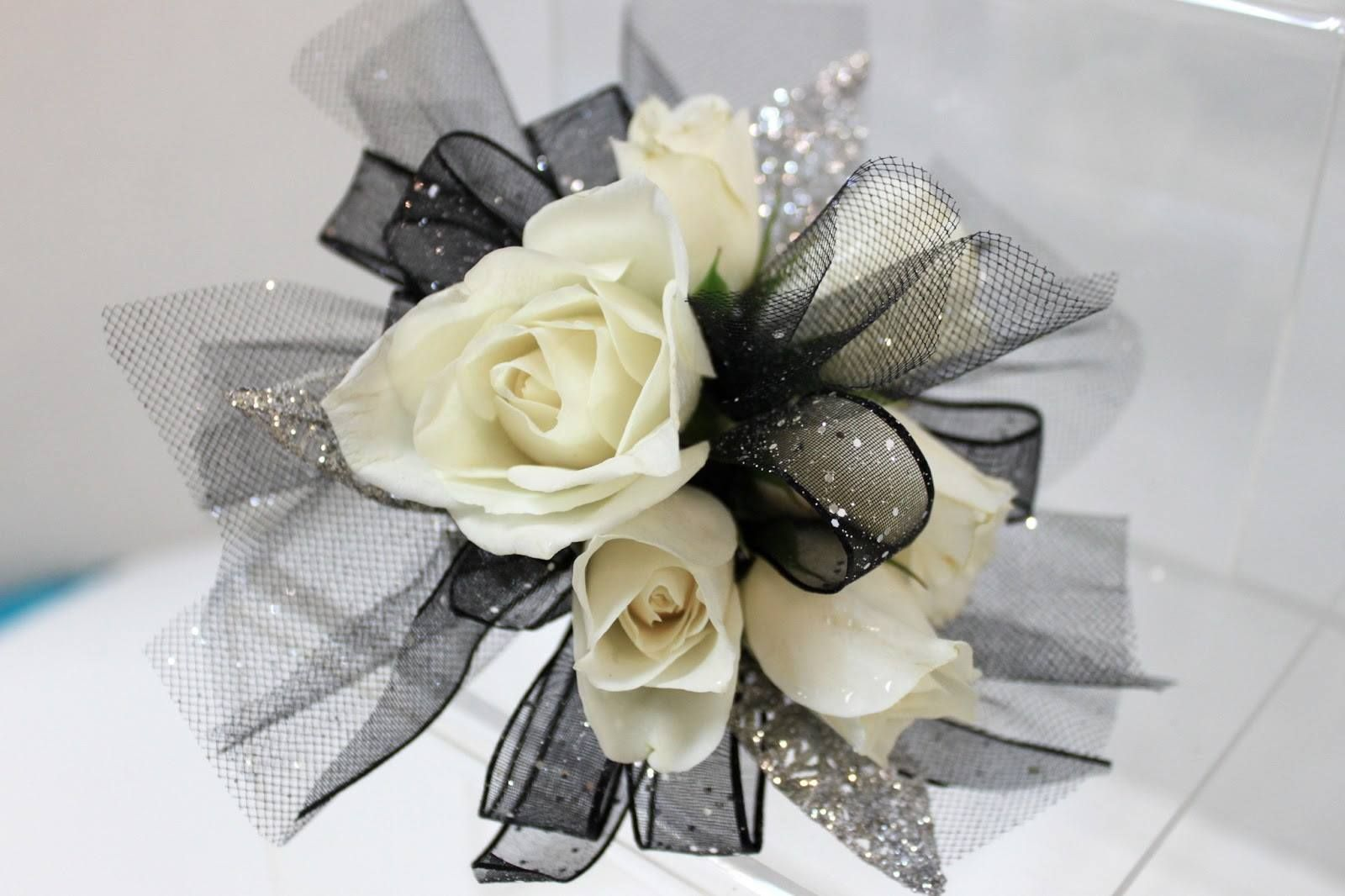 White Tea Roses amongst Black ribbons Wrist Corsage A Black tie affair &…