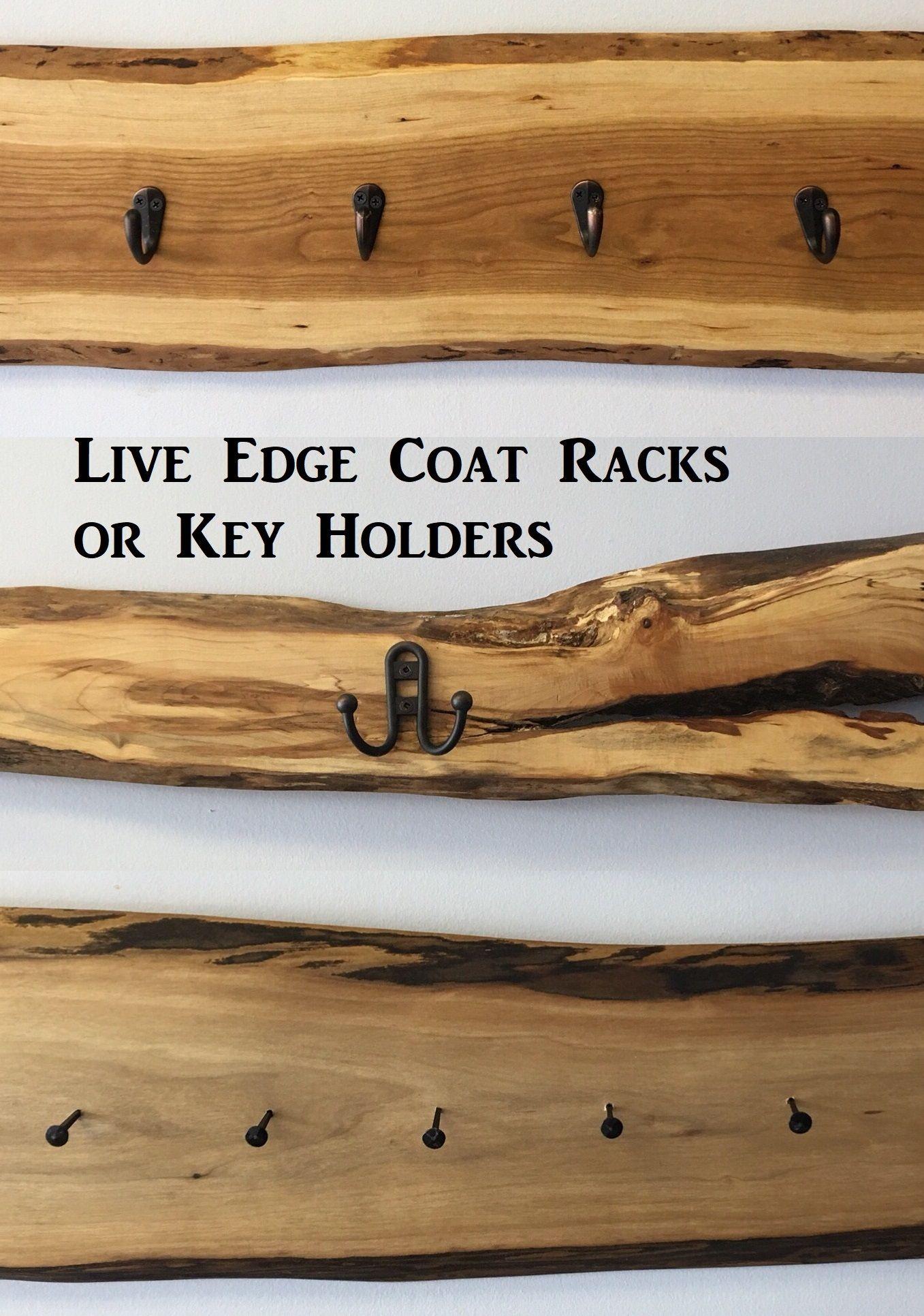 Wall Mounted Coat Rack Rustic Coat Hangers Rustic Key Holder Rustic Decor Live Edge Wall Coat Han Wall Mounted Key Holder Rustic Keys Wall Mounted Coat Rack