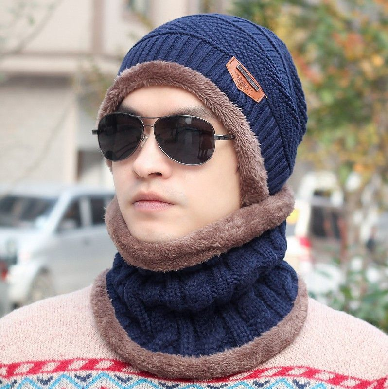 Men Warm Hats Beanie Winter Knitting Wool Hat for Unisex Caps Lady ...