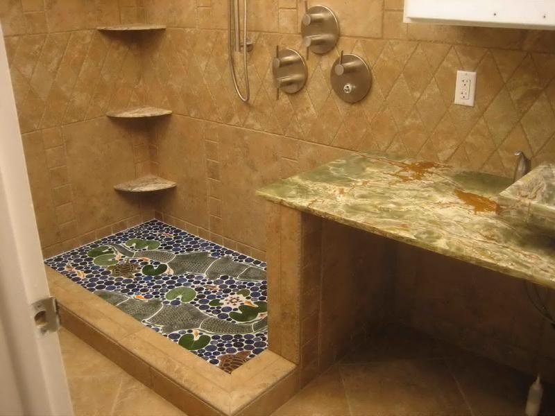 extraordinary bathroom design tile showers ideas | Extraordinary Shower Floor Tile Idea Plus 3 Tiered Corner ...