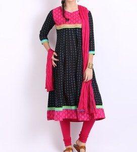 anouk women black pink printed anarkali churidar kurta