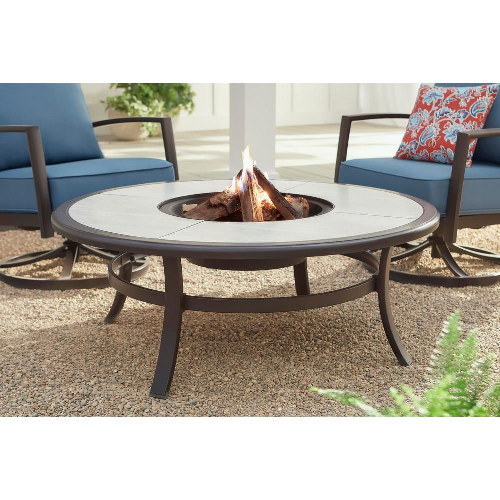 Hampton Bay Whitfield 48 In Round Galvanized Steel Wood Burning