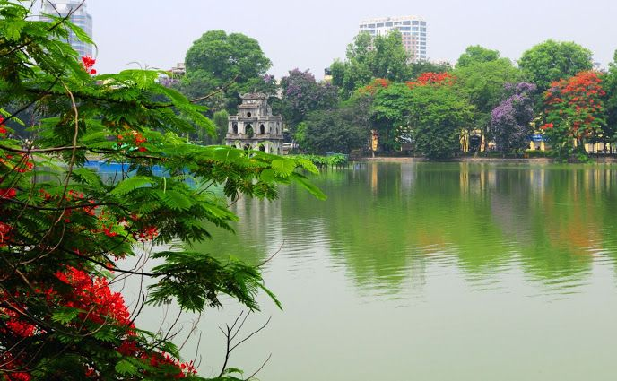 Located in the centre of Hanoi, Hoan Kiem Lake ('Lake of the Returned Sword) is regarded as the heart of the city. Once a marshy lagoon, it owes its name and its fame to a powerful legend, a close parallel to an episode in the UK's Arthurian mythology.
