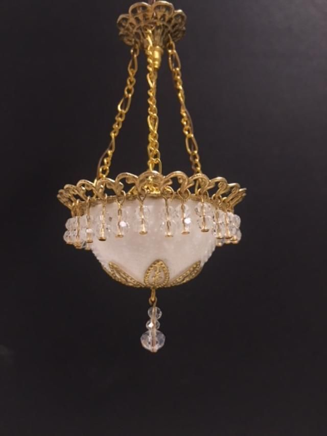 Dollhouse Miniature Handcrafted Crystal Chandelier Centre Bowl Shade 1:12 12V #miniaturedolls