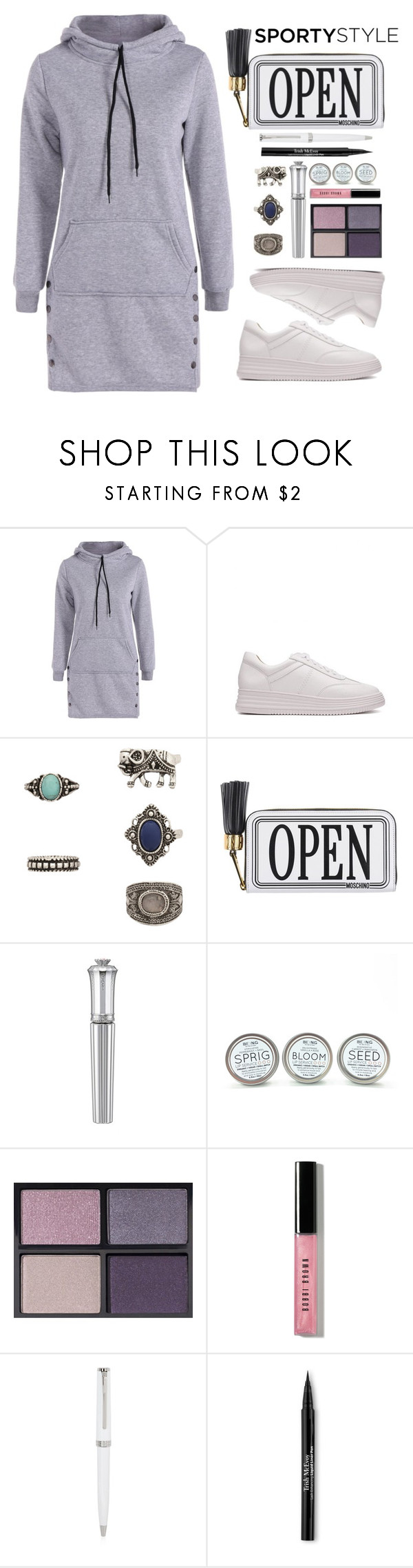 """Sporty Style. RG"" by simona-altobelli ❤ liked on Polyvore featuring Moschino, Morgan Lane, Tom Ford, Bobbi Brown Cosmetics, Montblanc and Trish McEvoy"