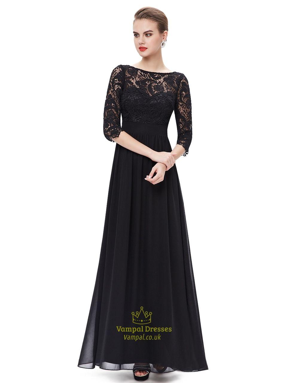 Elegant Black Lace Bodice Chiffon Prom Dress With 3/4 Length Sleeves ...