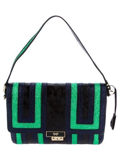 Navy, Green and black crinkled leather paneled 'Ebenezer' shoulder bag from Anya Hindmarch
