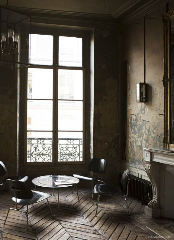 Parisian studio, herringbone floors, lantern, French doors / Garance Doré -★- living