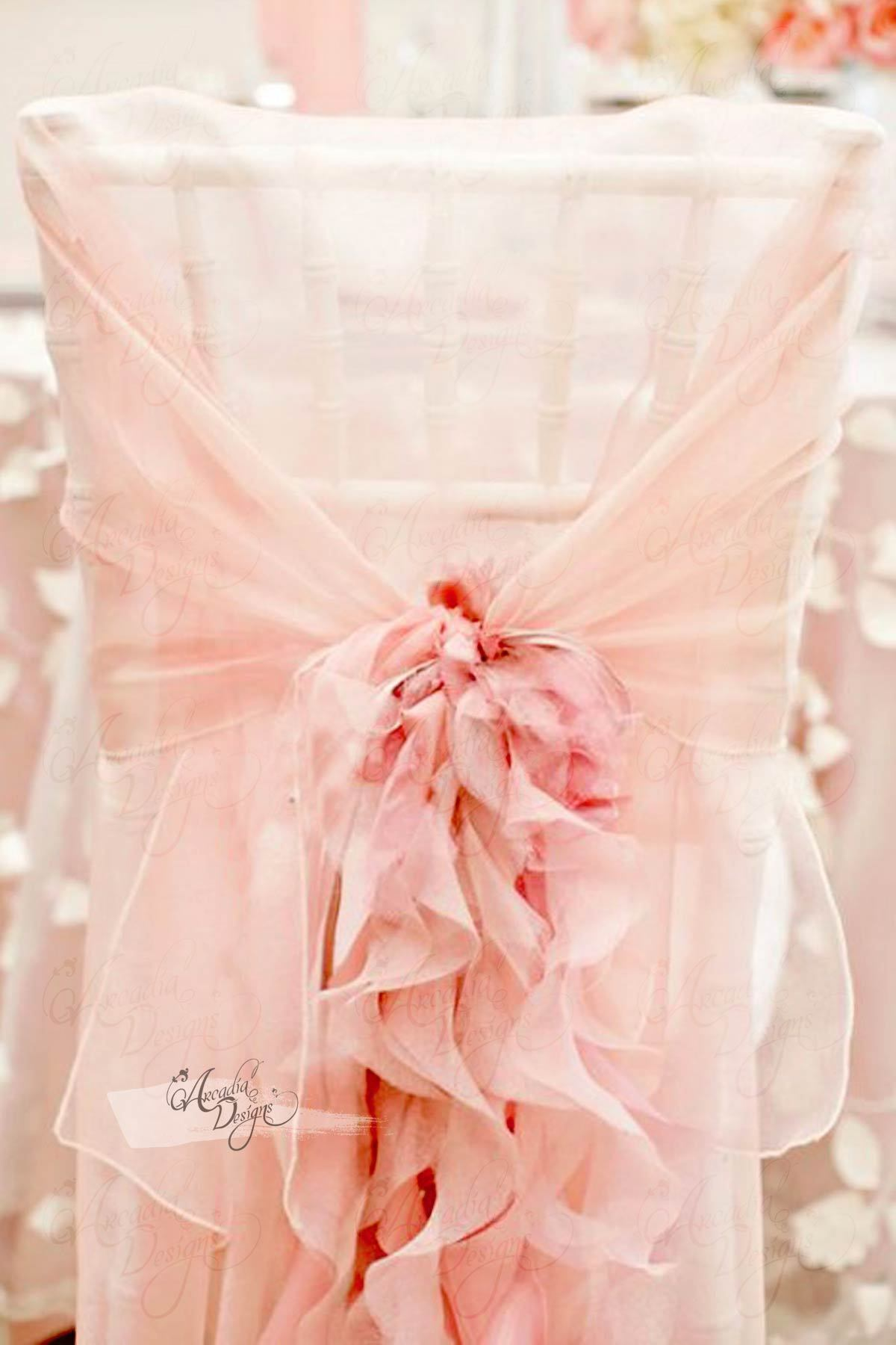 Ruffled Chiffon Chair Cover With Curly Sash Wedding Chair