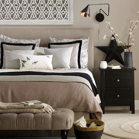 Beige and black bedroom … Pinteres…
