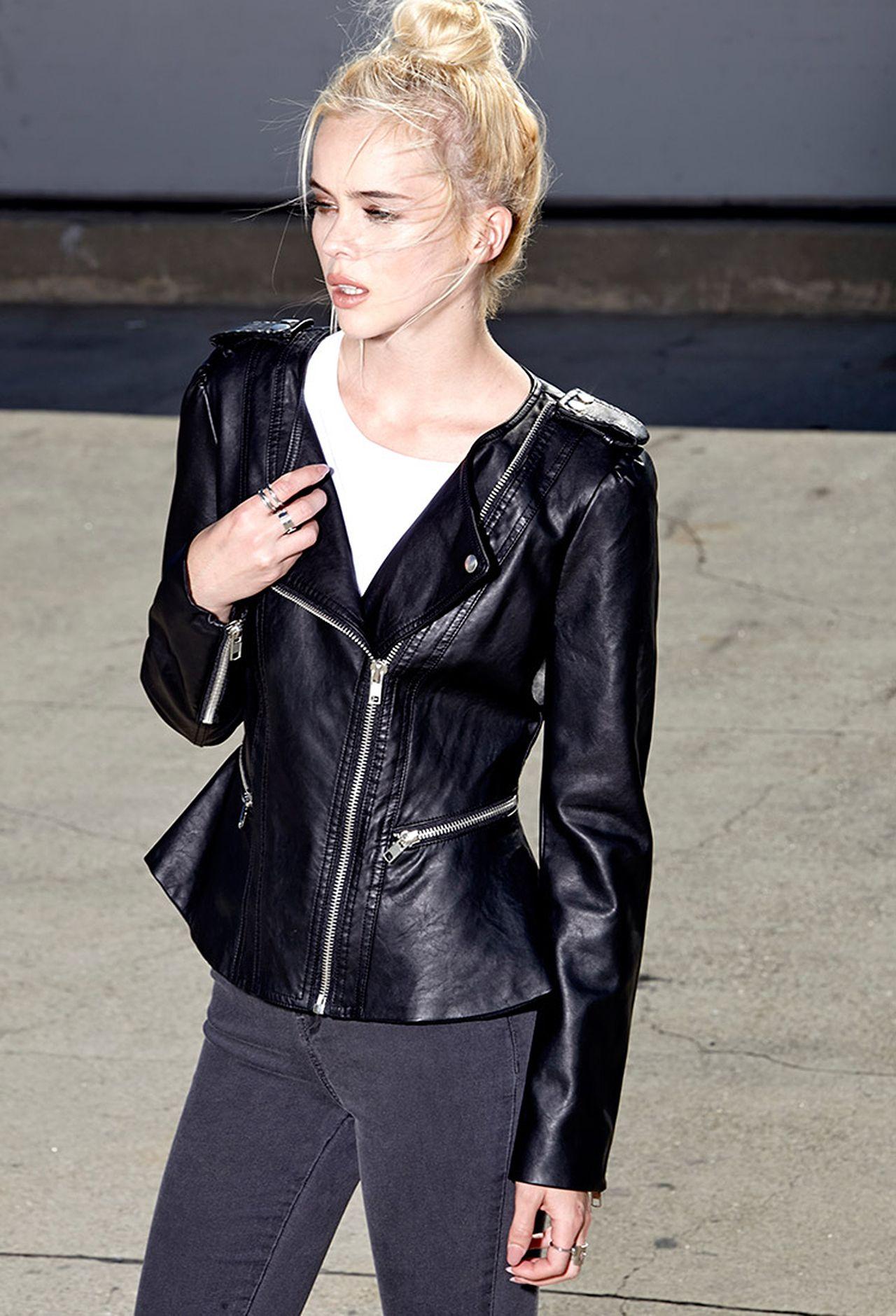 Femme Faux Leather Moto Jacket, $42